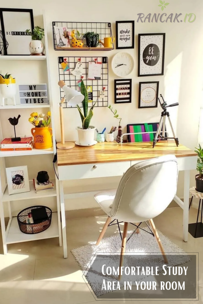 Create a Comfortable Study Area in your room with a desk, chair, and lamp
