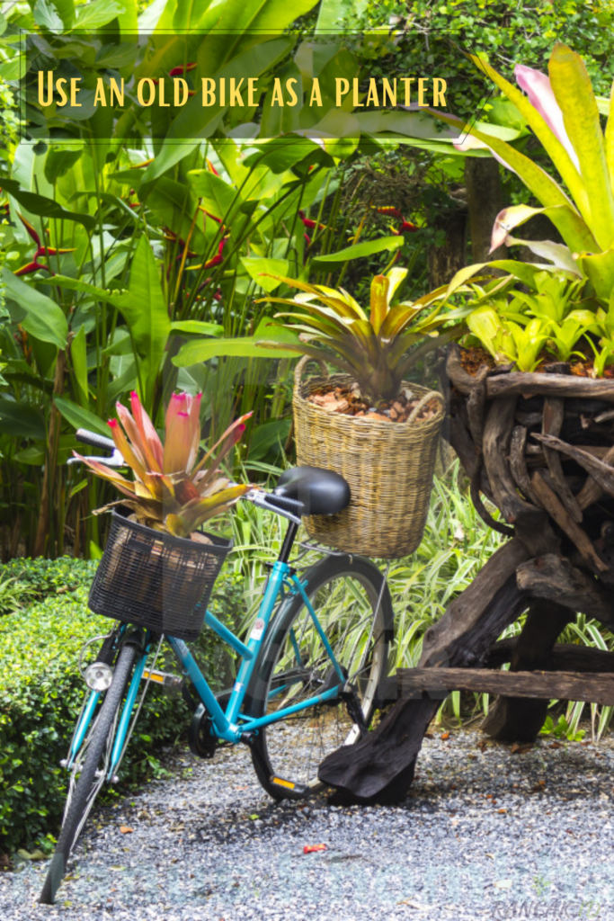 Use an old bike as a planter - place rocks around the tires to maintain stability