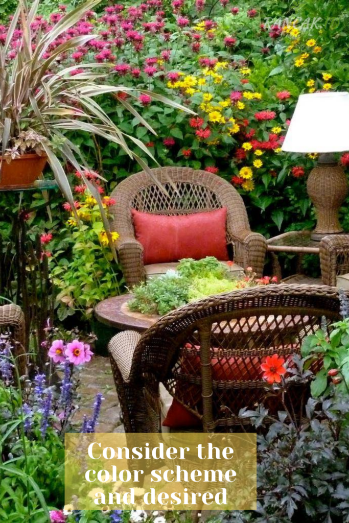 Consider the color scheme and desired effect before planting flowers or other plants in your garden.