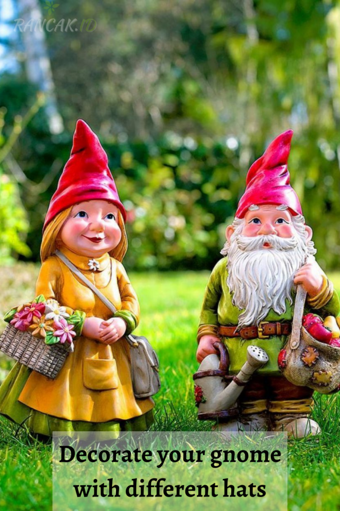 Decorate your gnome with different hats, clothes, and accessories